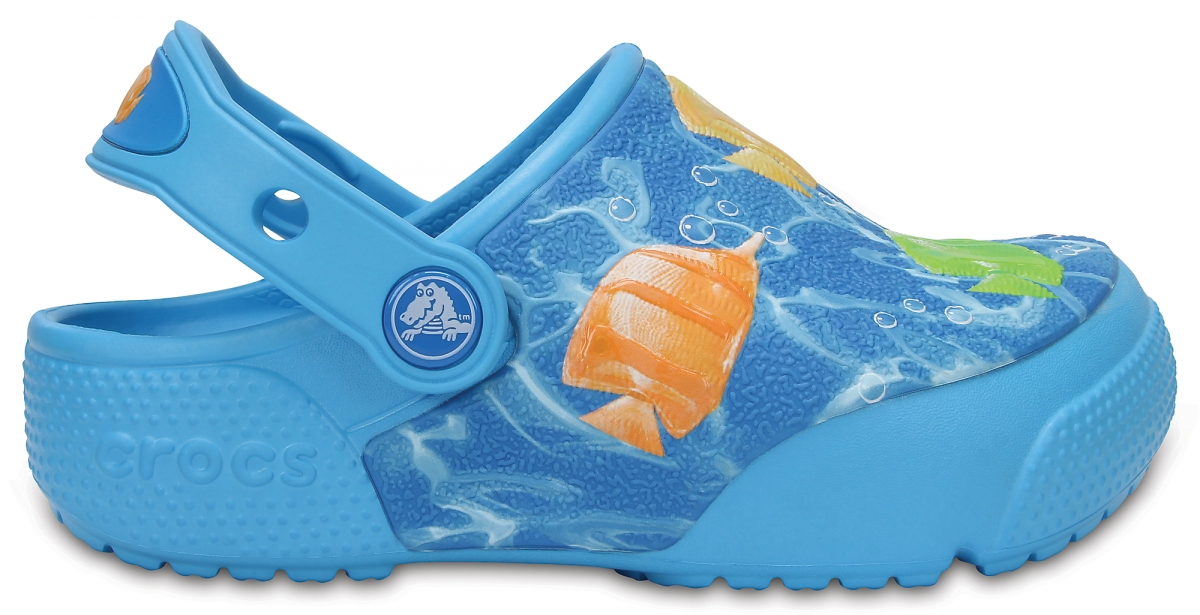 Crocs Fun Lab Lights Fish - Multi/Electric Blue, J2 (33-34)
