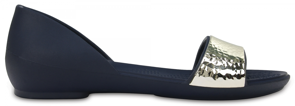 Crocs Lina Embellished D'Orsay Flat - Navy/Silver, W10 (41-42)
