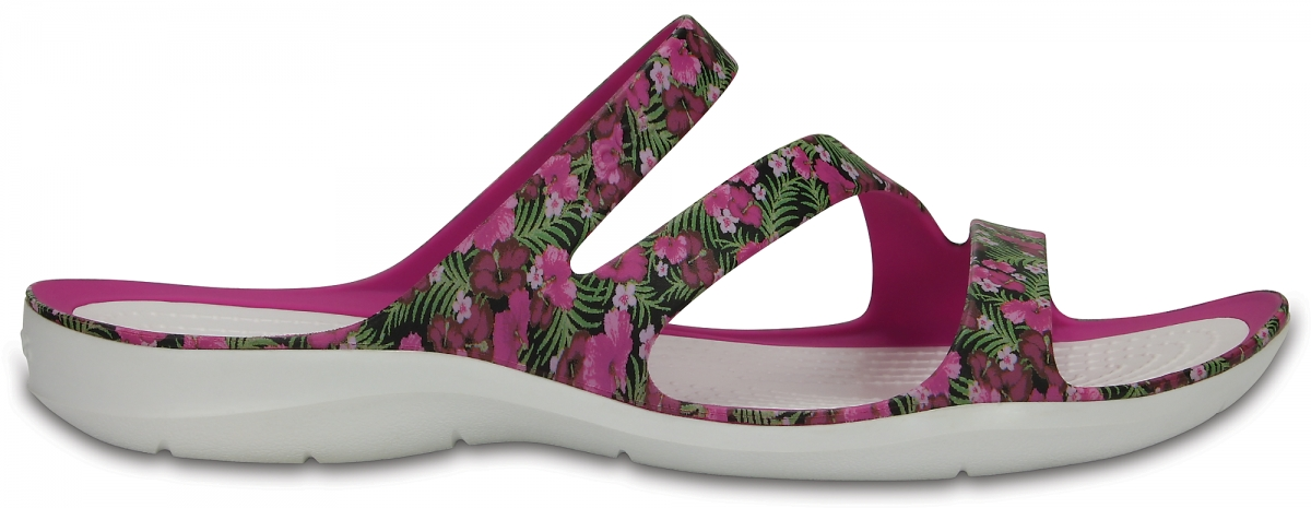 Crocs Swiftwater Graphic Sandal Women - Pink/Floral, W8 (38-39)