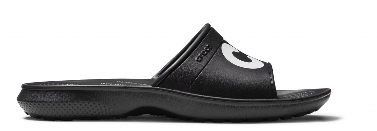 Crocs Classic Graphic Slide - Black/White, M8/W10 (41-42)
