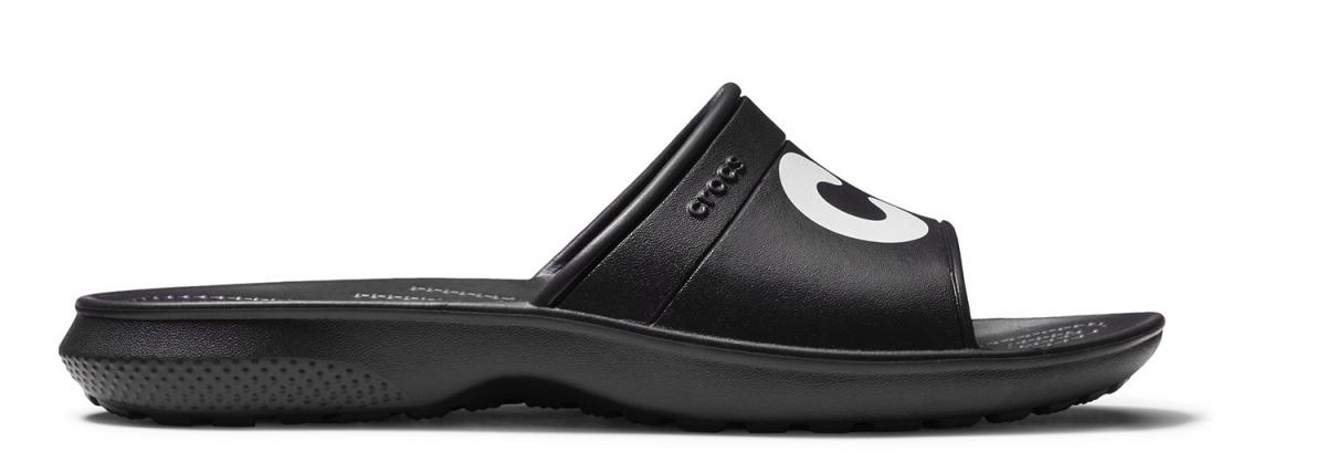 Crocs Classic Graphic Slide - Black/White, M12 (46-47)