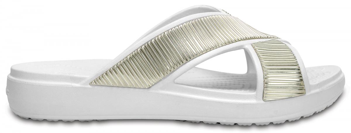Crocs Sloane Embellished XStrap - Oyster/Gold, W9 (39-40)