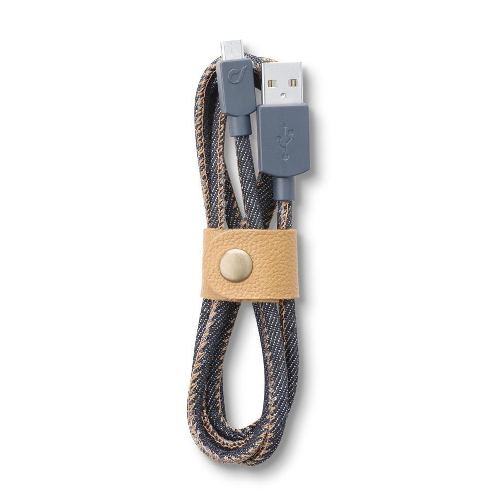 Datový kabel Cellularline LONGLIFE, microUSB, textilní obal, design Jeans USBDATACMUSBJEANS