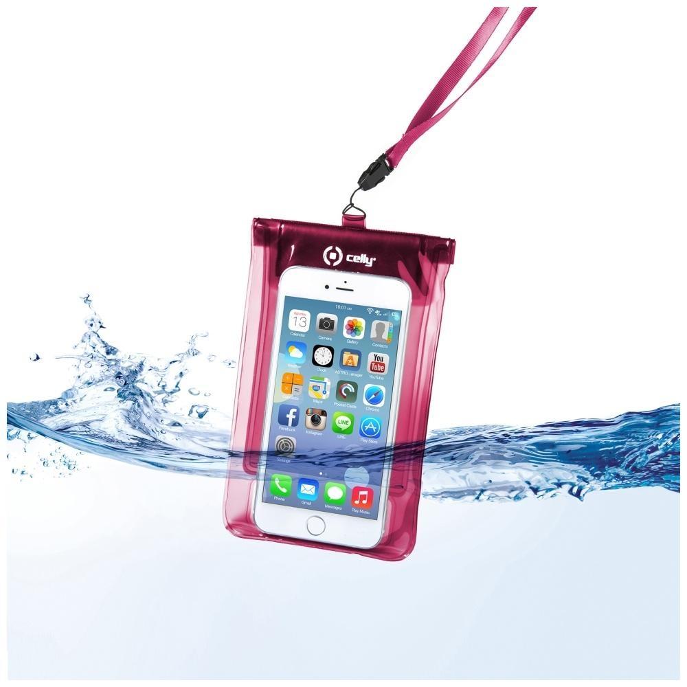 """Univerzální voděodolné pouzdro CELLY Splash Bag pro telefony 5,7"""" - růžové SPLASHBAGPK"""