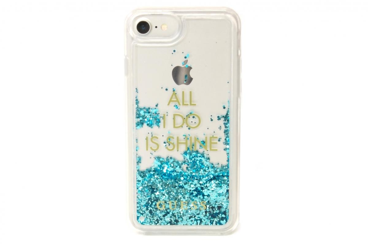 Zadní kryt Guess Liquid Glitter Shine Blue GUHCP7GLUQBL pro Apple iPhone 7/6/6S GUHCP7GLUQBL