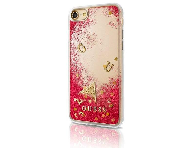Zadní kryt Guess Liquid Glitter Rapsberry GUHCP7GLUFLRA pro Apple iPhone 7/6/6S GUHCP7GLUFLRA
