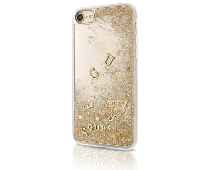 Zadní kryt Guess Liquid Glitter Gold GUHCP7GLUFLGO pro Apple iPhone 7/6/6S GUHCP7GLUFLGO