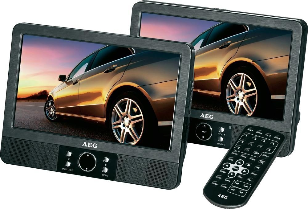 Přenosný DVD přehrávač do auta AEG DVD-4552LCD, 2 monitory a stereo sluchátka