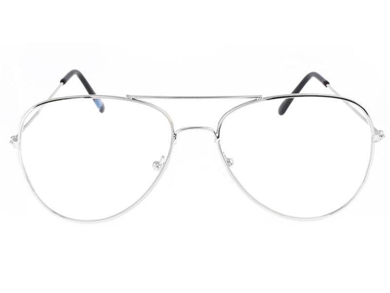 Čiré brýle Aviator se stříbrnými obroučkami
