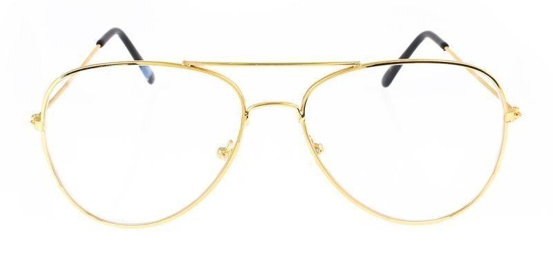 Čiré brýle Aviator se zlatými obroučkami