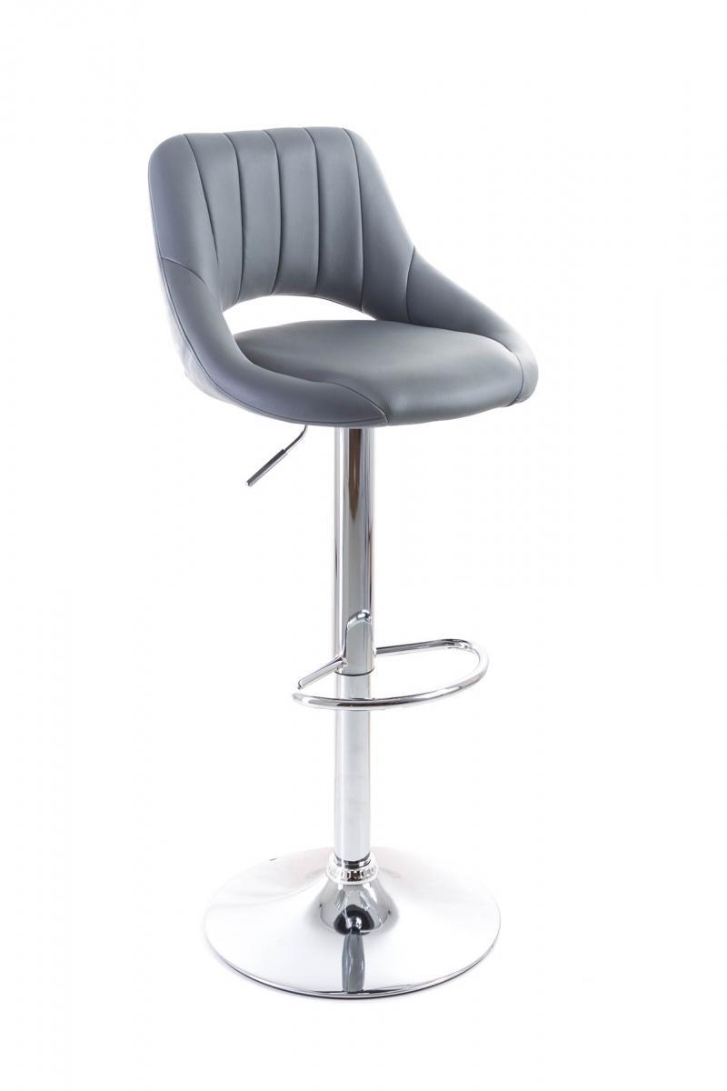 Barová židle G21 Aletra Grey, koženková, prošívaná - šedá