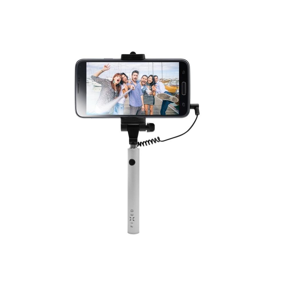 Kompaktní selfie stick FIXED Snap Mini, spoušť přes 3,5 mm jack, stříbrný - stříbrná FIXSS-SNM-SL