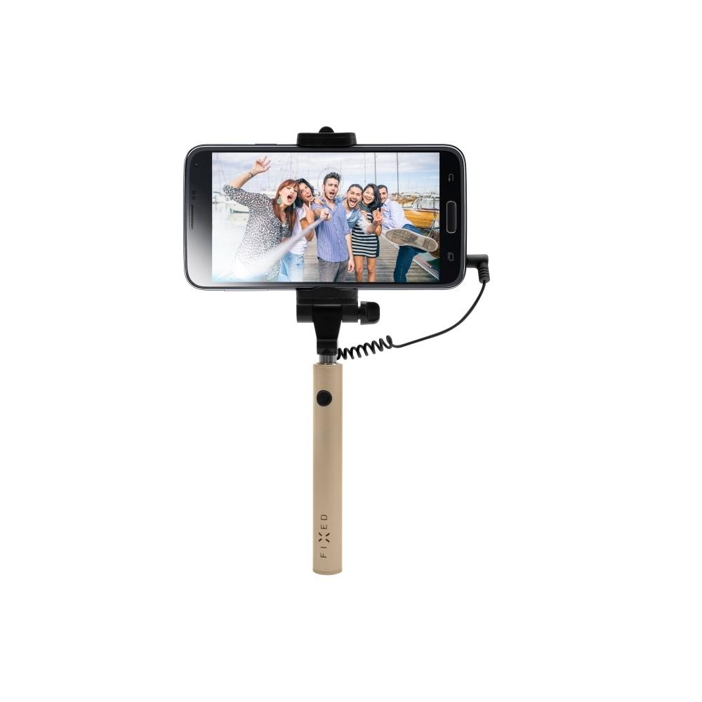 Kompaktní selfie stick FIXED Snap Mini, spoušť přes 3,5 mm jack, zlatý - zlatá FIXSS-SNM-GD