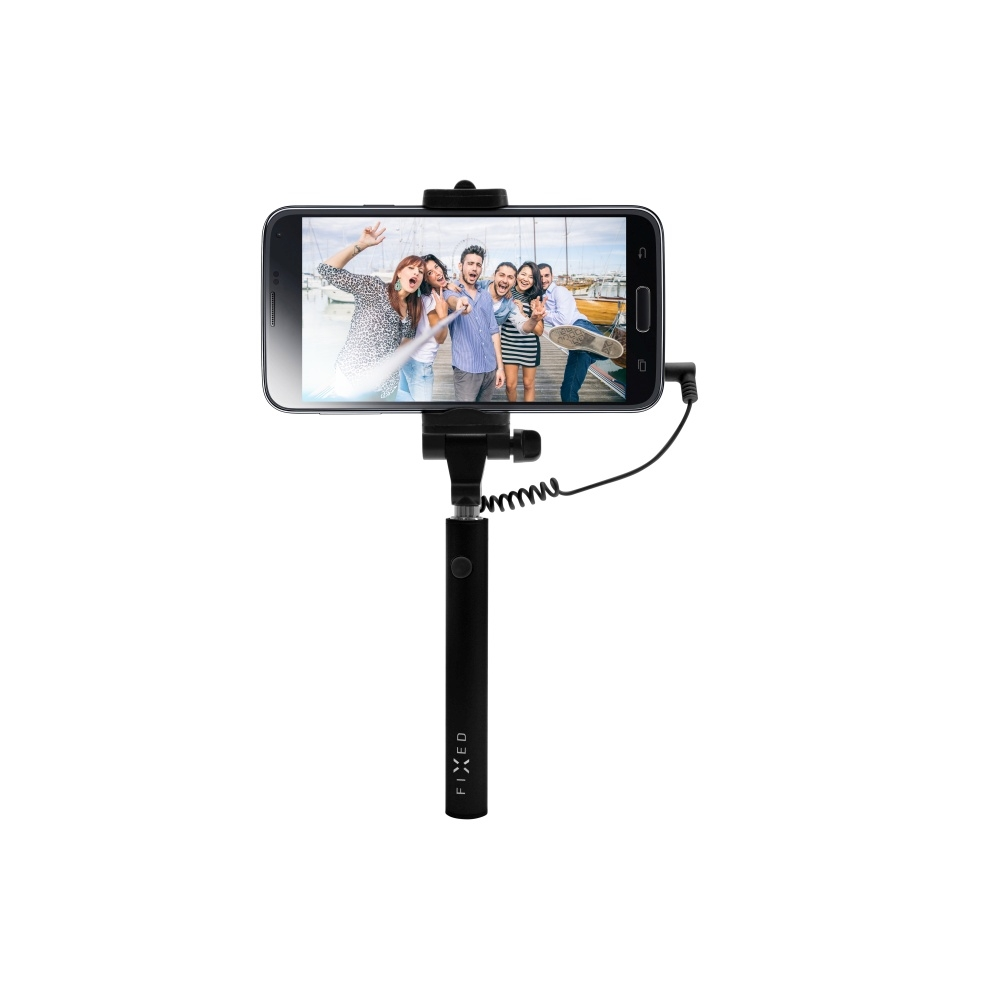 Kompaktní selfie stick FIXED Snap Mini, spoušť přes 3,5 mm jack, černý FIXSS-SNM-BK