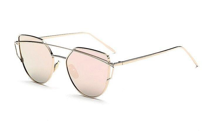 Sluneční brýle s růžovými skly, filtrem UV 400 a zrcadlovým efektem