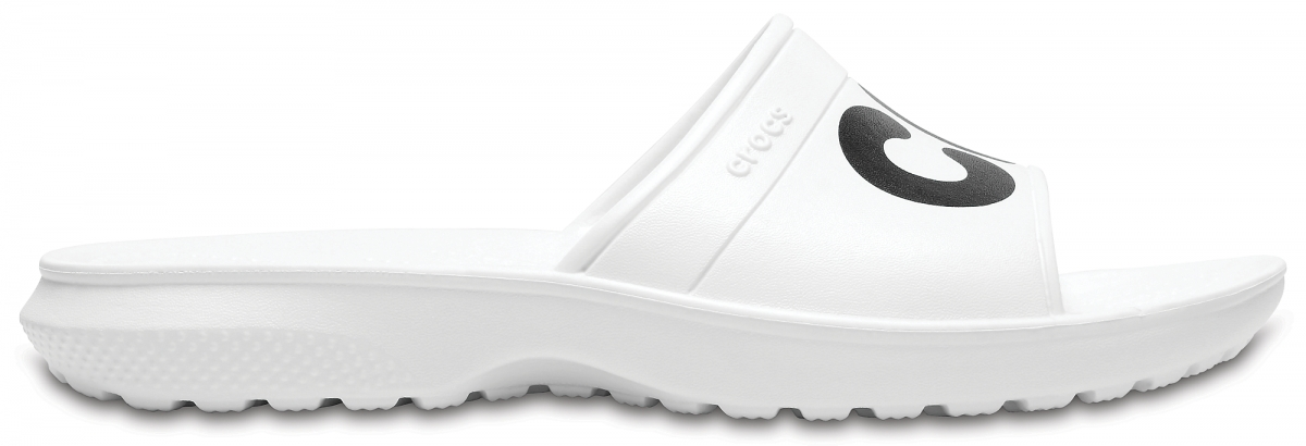 Crocs Classic Graphic Slide - White/Black, M7/W9 (39-40)