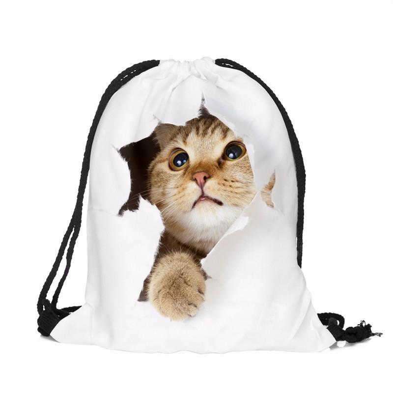 Batoh s kočičkou PL21, bílý