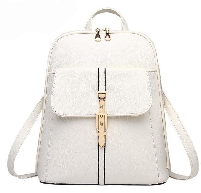 Módní batoh s přezkou PL28, bílý