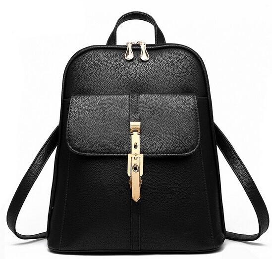 Módní batoh s přezkou PL28, černý