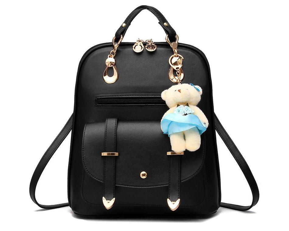 Módní batoh s modrým medvídkem PL29, černý