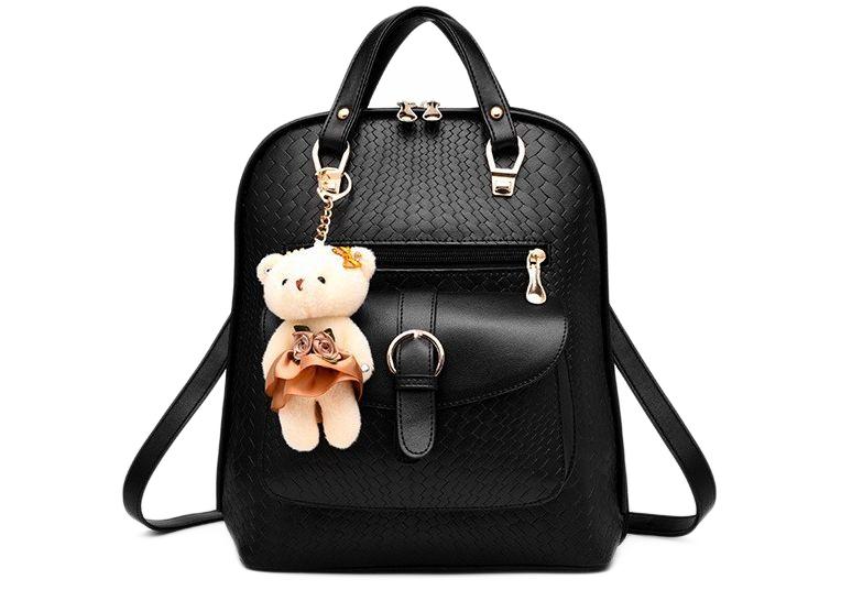 Módní batoh s béžovým medvídkem PL31, černý