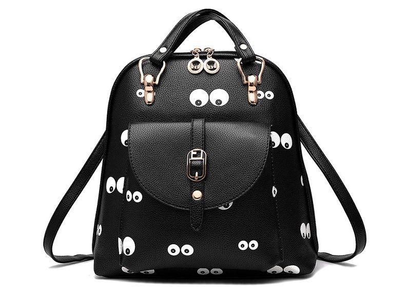 Módní batoh s potiskem očí EYES, černý
