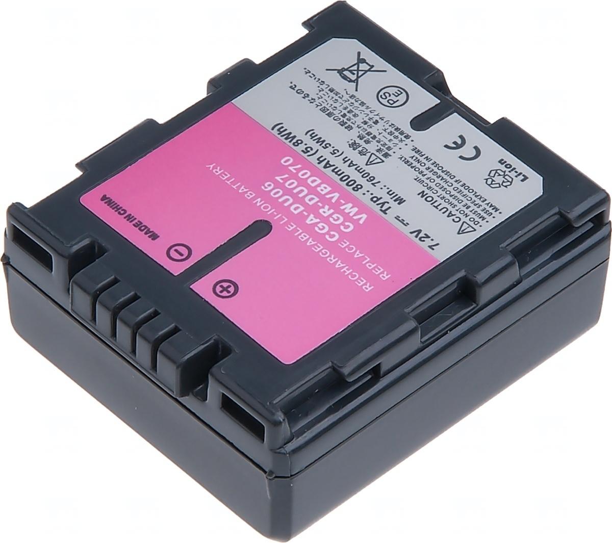 Baterie T6 power Panasonic VW-VBD070, CGA-DU07, CGR-DU07, Hitachi DZ-BP07S, 800mAh, šedá VCPA0009