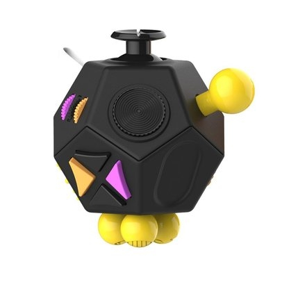 Antistresová hračka Fidget Cube 12-Side, černá