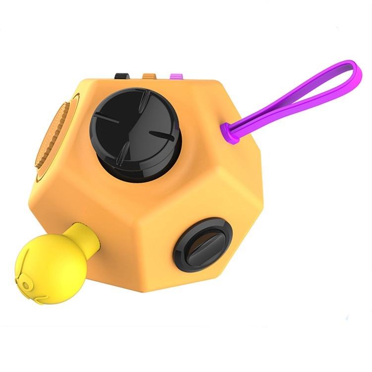 Antistresová hračka Fidget Cube 12-Side, oranžová
