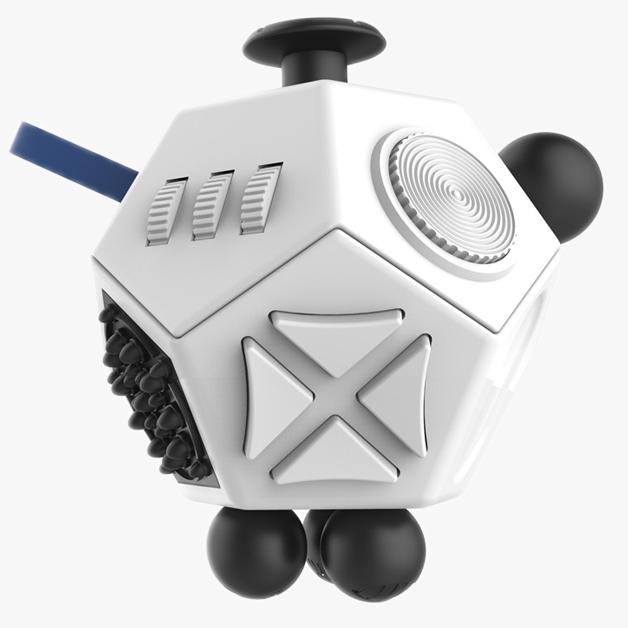 Antistresová hračka Fidget Cube 12-Side, bílá