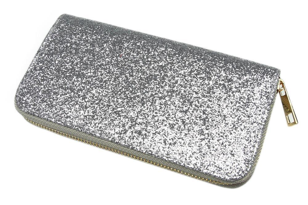 Velká dámská peněženka s flitry - stříbrná