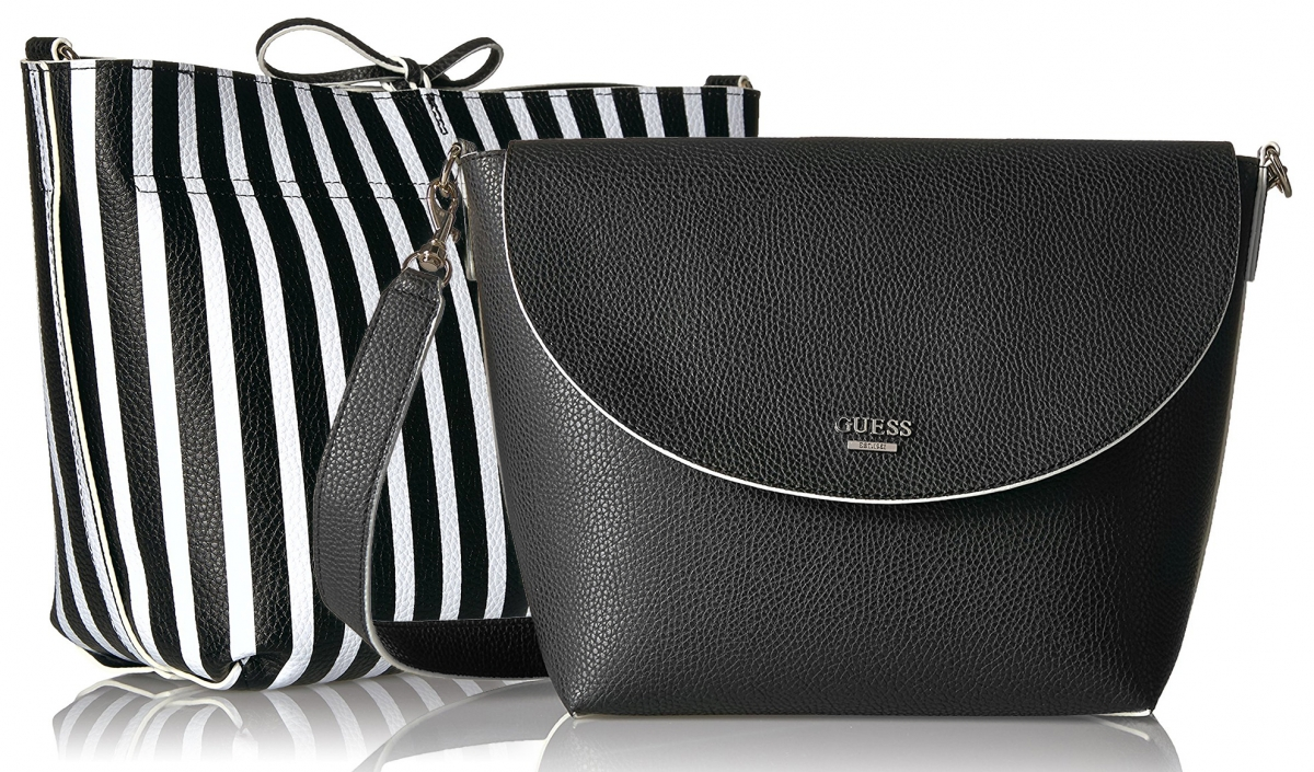 Guess Bobbi Bag Black Stripe 3v1, černo-bílá