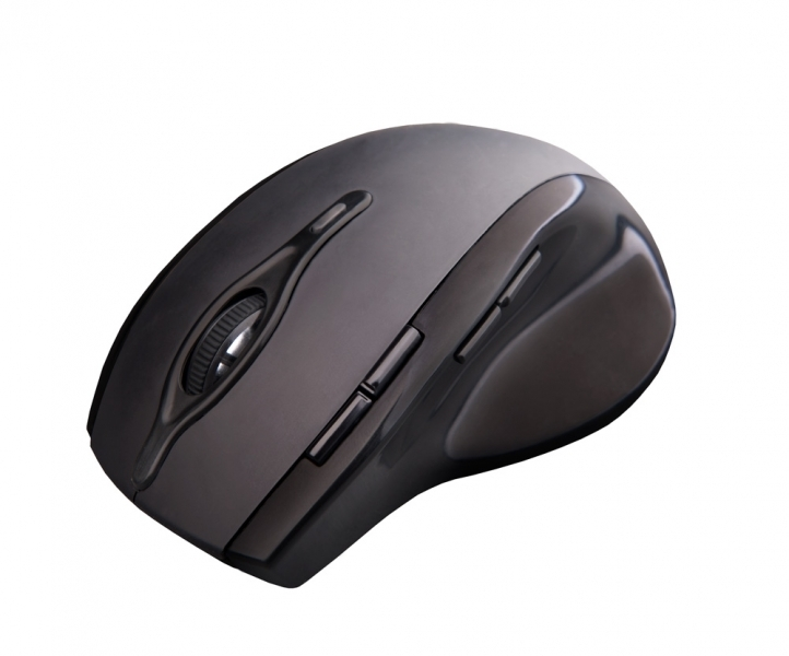 C-TECH myš WLM-11, černá, bezdrátová, 2400DPI, 8 tlačítek, programovatelná, USB nano receiver WLM-11BK