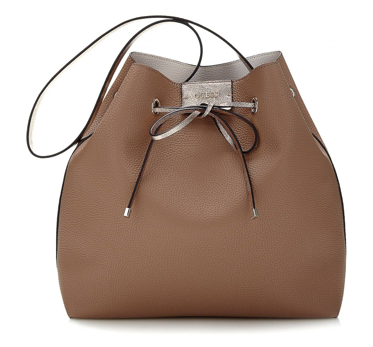 Guess Bobbi Reversible Bucket Bag 3v1, hnědo-bílá