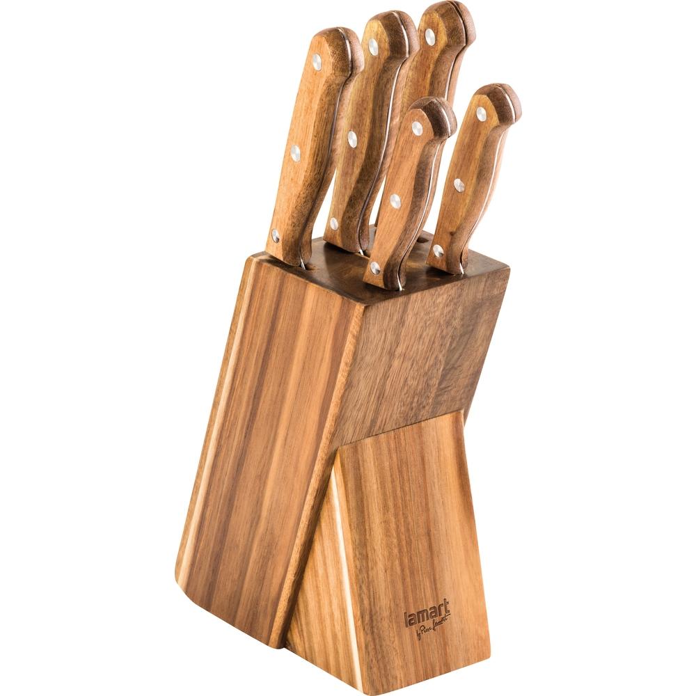 Lamart Wood LT2080 sada kuchyňských nožů v bloku