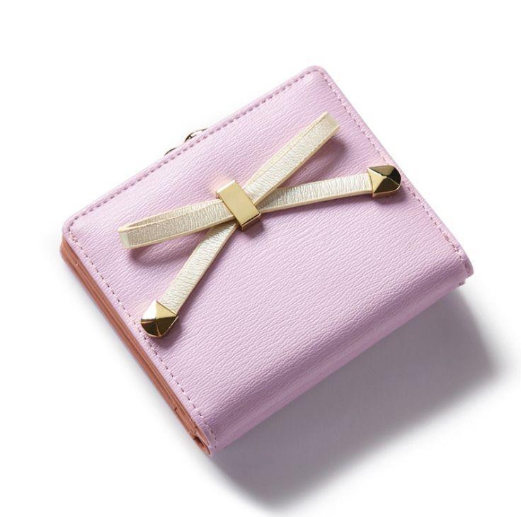 Malá dámská peněženka s mašlí - růžová