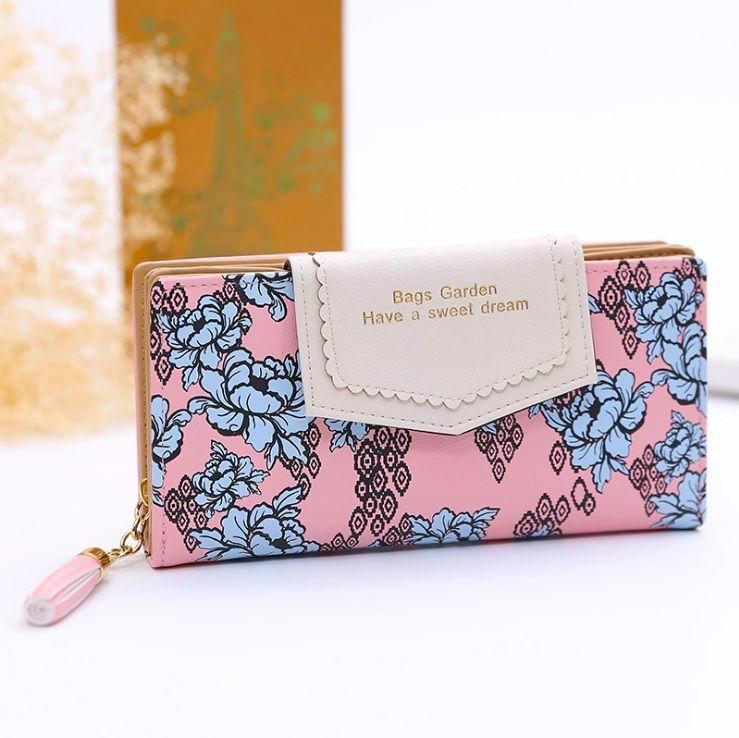 Velká dámská peněženka s potiskem květů, růžová