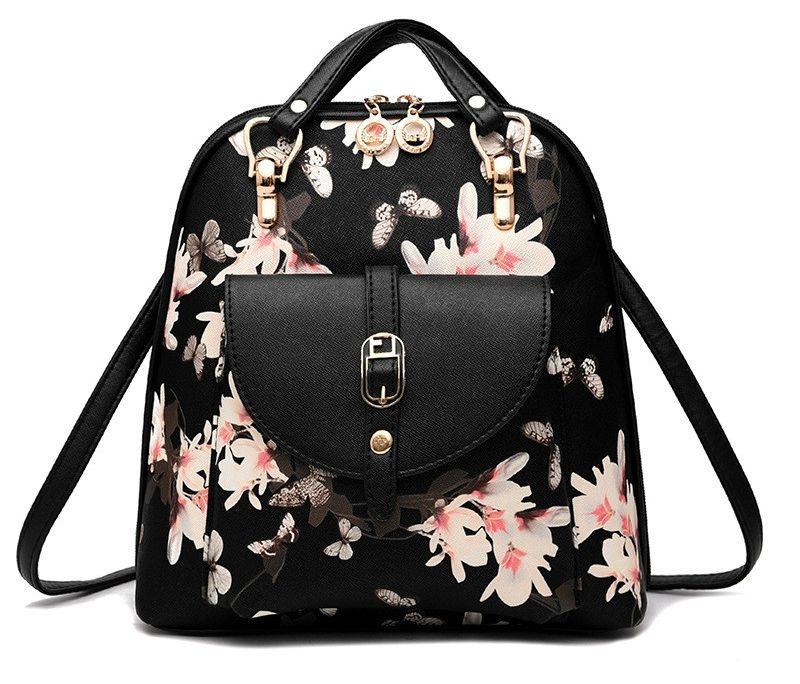 Módní batoh s potiskem květů, černý