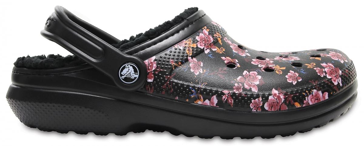 Crocs Classic Lined Graphic Flowers Clog - Black, M5/W7 (37-38)