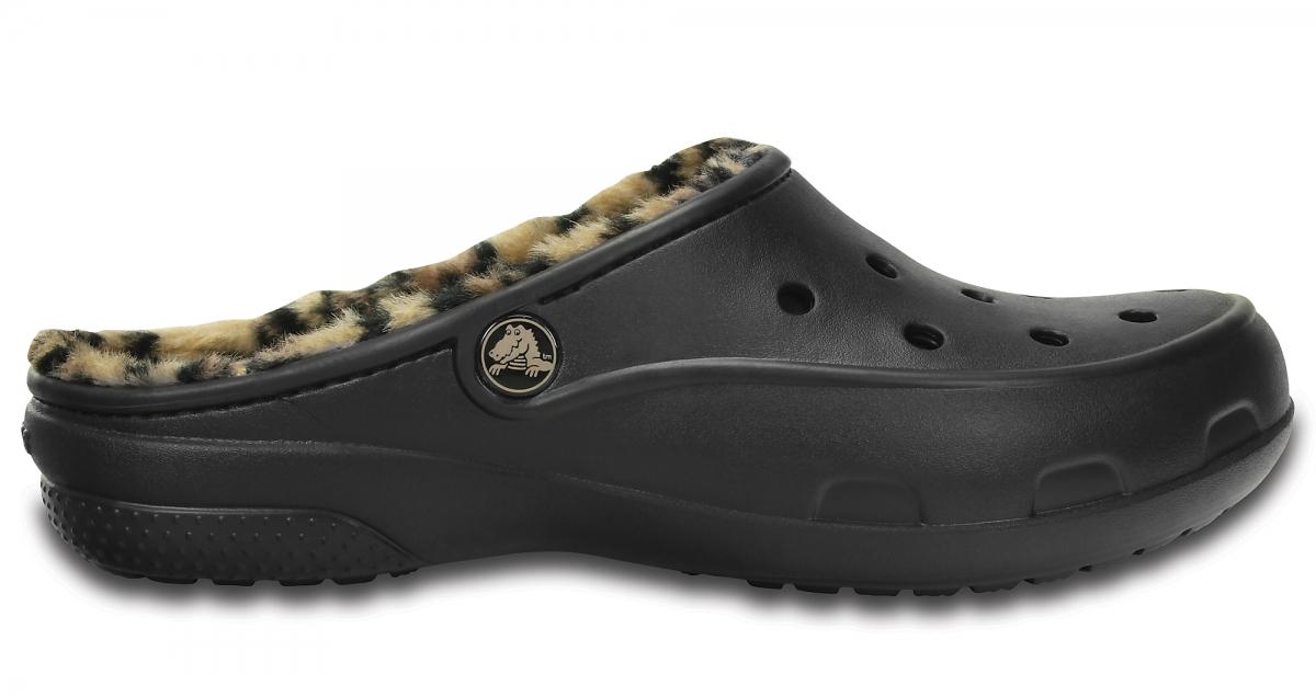 Crocs Freesail Leopard Lined - Black/Gold, W8 (38-39)