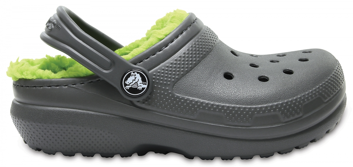 Crocs Classic Lined Clog Kids - Slate Grey/Volt Green, C12 (29-30)