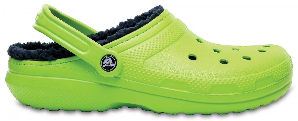 Crocs Classic Lined Clog - Volt Green/Navy, M4/W6 (36-37)