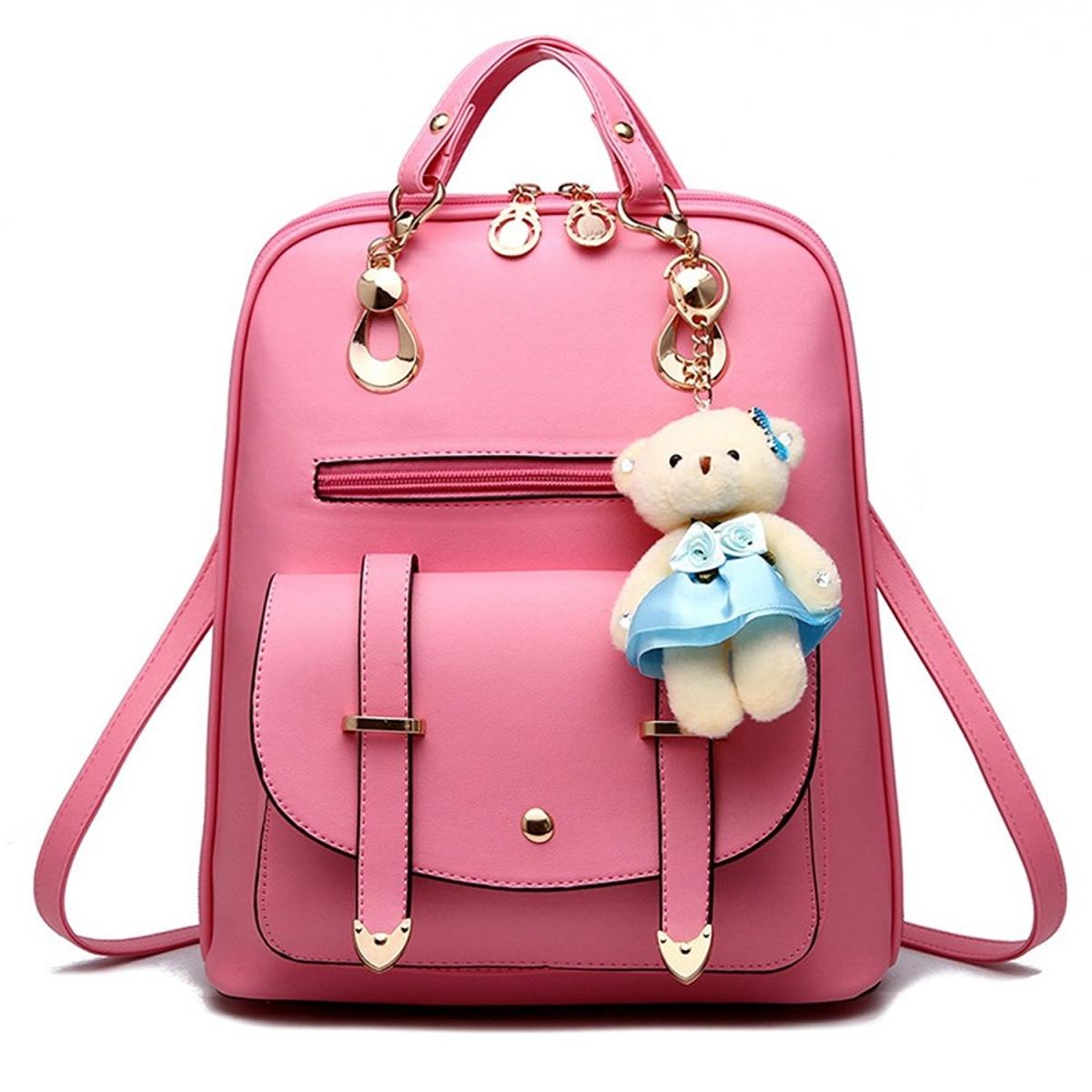 Módní batoh s modrým medvídkem PL29 - růžový