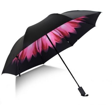 Skládací deštník s vnitřním potiskem růžového květu