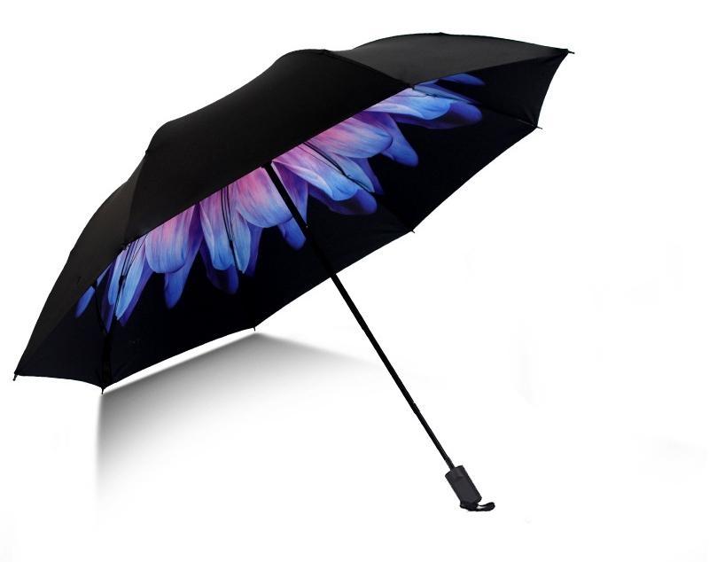 Skládací deštník s vnitřním potiskem růžovo-modrého květu