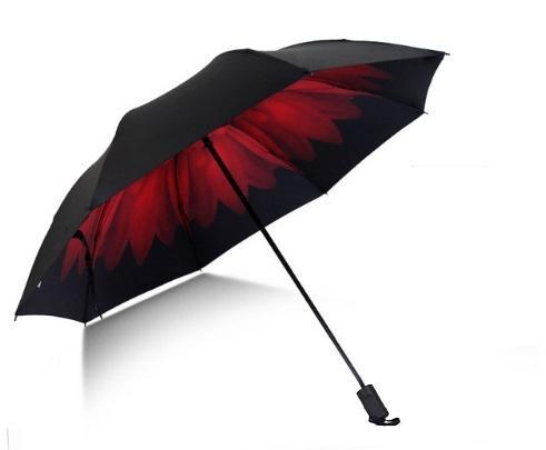 Skládací deštník s vnitřním potiskem červeného květu