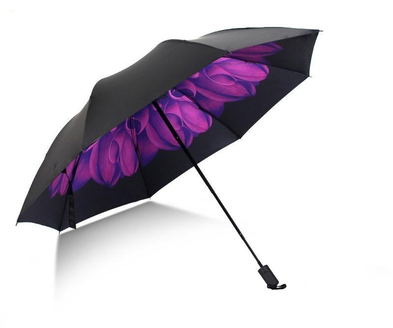 Skládací deštník s vnitřním potiskem fialového květu