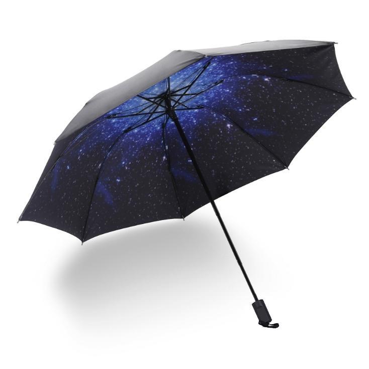 Skládací deštník s vnitřním potiskem hvězdné oblohy