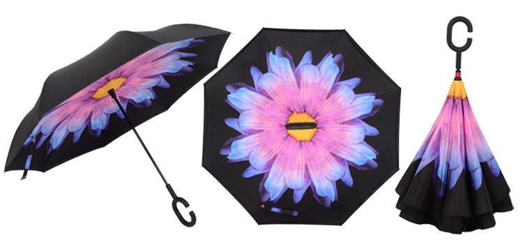 Holový deštník s funkcí převracení s potiskem růžovo-modrého květu
