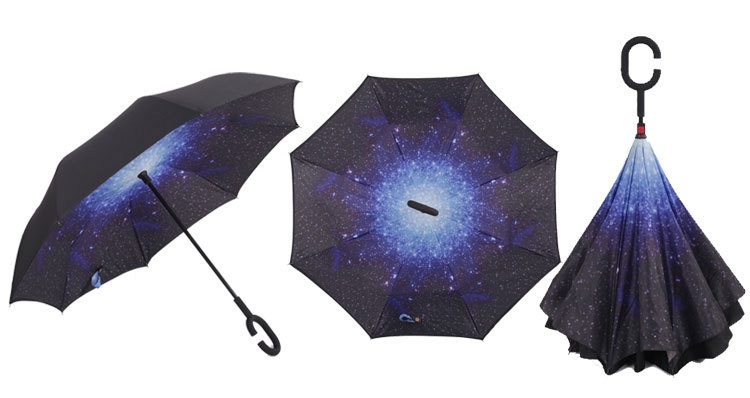 Holový deštník s funkcí převracení s potiskem galaxie